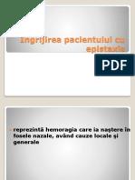 Ingrijirea pacientului cu epistaxis