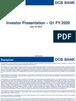 Investor Presentation Q1 FY2019!20!16 Jul 2019