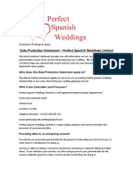 Perfect Spanish Weddings Data Protection Statement