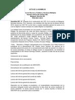 Cooperativa de Ahorros y Créditos y Servicios Múltiples Acta de Asamblea
