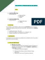 DEFINICIONES DE COSTOS Y PREUPUESTOS