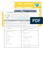 Ficha Ejemplos de Preposiciones Para Sexto de Primaria
