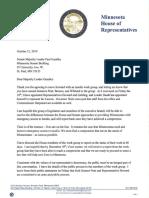 Speaker Hortman Letter to Majority Leader Gazelka 10.21.19