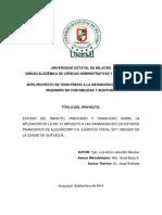 Estudio Del Impacto Tributario y Financiero Sobre La Aplicación de La Nic 12 Impuesto a Las Ganancias en Los Estados Financieros de Algosacorp s.a. Ejercicio Fiscal 2011 Ubicado en La Ci