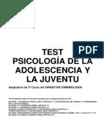 Test Psicología de la adolescencia y juventud