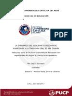 Castro Carrasco Enseñanza Manuscrito Quechua