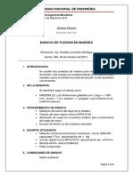 Ensayo de Flexión en Madera UNIVERSIDAD NACIONAL DE INGENIERÍA FIM