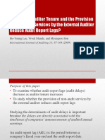 Do Lengthy Auditor Tenure and the Provision of Non-Audit Services by the External Auditor Reduce Audit Report Lags?