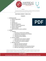 Temario Anatomia y Diseccion i