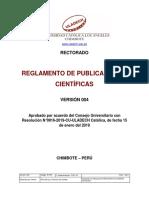 REGLAMENTO DE PUBLICACIÓN CIENTIFICA
