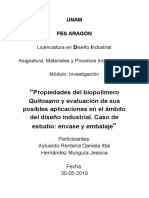 Propiedades del biopolímero Quitosano y evaluación de sus posibles aplicaciones en el ámbito del diseño industrial. Caso de estudio