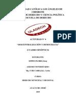 ACTIVIDAD N° 4 CUADRO SINÓPTICO  DESCENTRALIZACIÓN Y DEMOCRACIA