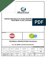 DGT EL 932 SP 001 Technical Specification Transformer