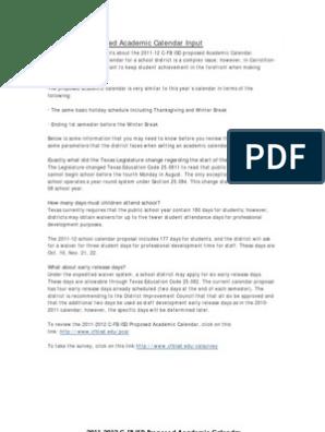 Cfbisd Calendar.C Fb Isd Proposed Calendar 2011 2012 With Explanation Academic