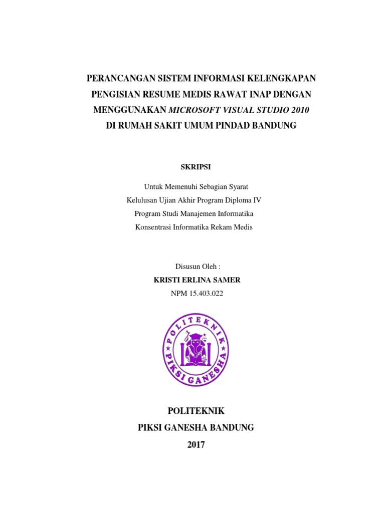 Skripsi Perancangan Sistem Informasi Kelengkapan Berkas Resume Medis Rawat Inap