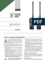 IC-A24 A6 VHF Air Band Radio Instruction Manual