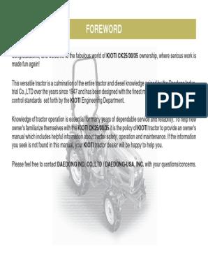 52065323-CK25-30-35-OM.pdf   Tractor   Transmission (Mechanics) on kioti lk3504, kioti ds4510, kioti dk45, kioti dk55, kioti ck35, kioti ck30, kioti dk40se, kioti ck20,