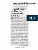 Business Mirror, Oct. 22, 2019, DepEd open to House review of K to 12.pdf