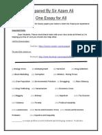 Essay Notes Send by Sir Azam Ali