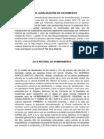 Ejemplo de Acta de Legalizacion de Documento y Acta de Nombramiento