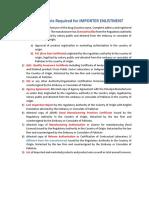 Checklist for Importer Enlistment (Form-6)