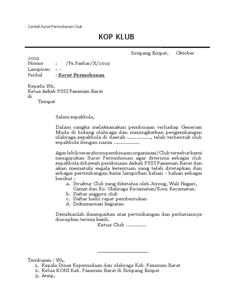 Contoh Surat Permohonan Club Lampiran