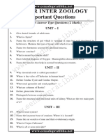 TS SR.INTER ZOOLOGY IMPORTANT QUESTIONS