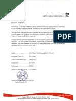 Test Certificate for Lobe pump