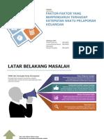 Faktor yang Mempengaruhi Ketepatan Waktu Pelaporan Keuangan