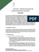 Publicado Retificado Edital Seleção 2020 Ppgs