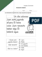 Evaluacion comprension lectora 1° - 2°