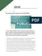 """Conceito Geral Da Expressão """"Fazenda Pública"""""""