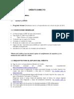 Requisitos Crédito Directo Pregrado Virtual Cohorte de Julio-2019.