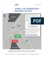 Detour for closure of I-15 in Roy this weekend