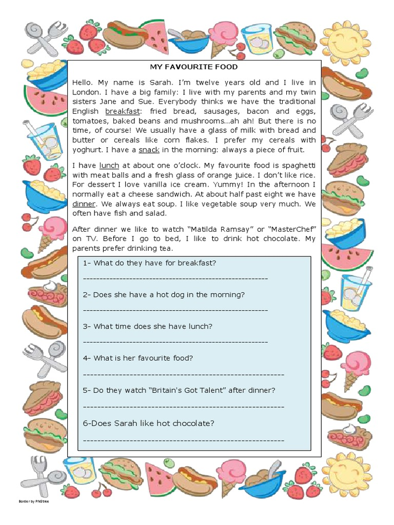 - My Favourite Food Reading Comprehension Exercises 107510