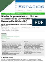 Niveles de pensamiento crítico en estudiantes de Universidades en Barranquilla (Colombia)
