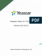 Yeastar Release Note for TA1610 40.19.0.X En
