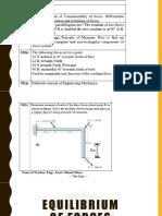 Lecture 5 Equillibrium of Forces