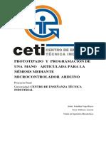 Prototipado y Programación de Una Mano Articulada Para La Mímesis Mediante Microcontrol