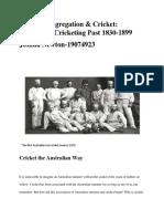 Sledging, Segregation & Cricket-Australia's Cricketing Past 1830-1899 (Final) (1)