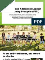 Module 15 Preschoolers Physical Development