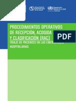 Procedimiento Operativo de Recepción Acogida y Clasificación RAC Triaje de Pacientes en Las Enfermedades Hospitalarias