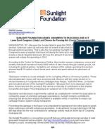 Sunlight Foundation Urges Congress to Pass DISCLOSE Act