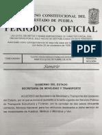 Gobierno de Puebla publica en el Periódico Oficial el aumentazo de 2.50 para rutas foráneas