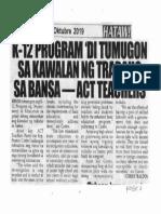 Hataw, Oct. 23, 2019, K-12 program di tumugon sa kawalan ng trabaho sa bansa - Act Teachers.pdf