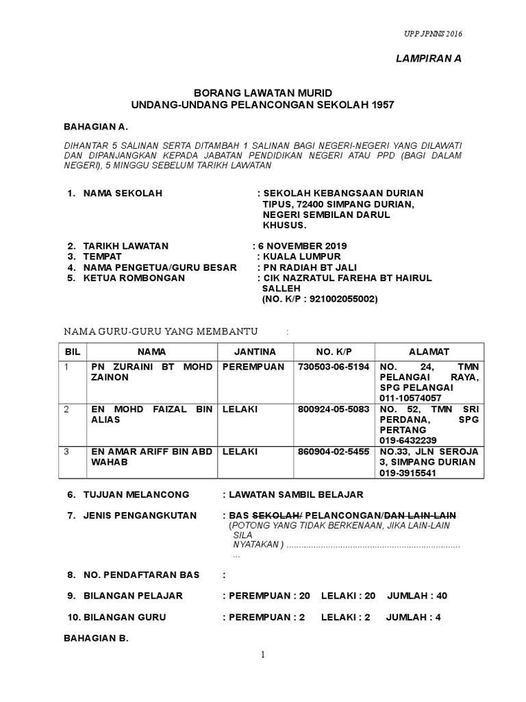 Borang Permohonan Melancong Kl 2019
