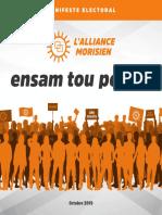 Découvrez l'intégralité du manifeste électoral de l'Alliance Morisien