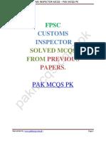 FPSC Customs Inspector Solved Mcqs