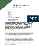 Informe Anual 2016 de La Industria Alimentaria en España