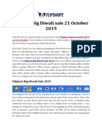 Flipkart Big Diwali Sale 21 October 2019